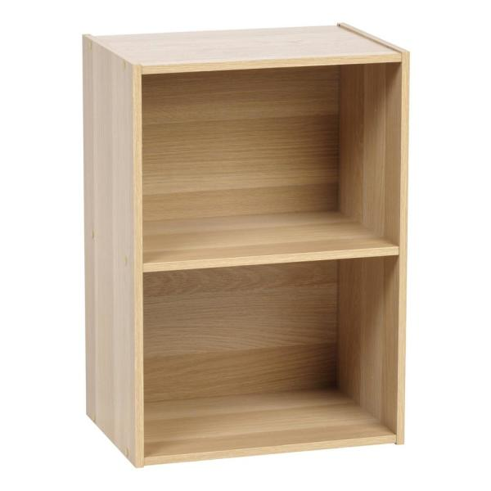 IRIS Light Brown 2-Tier Wood Storage Shelf 596164