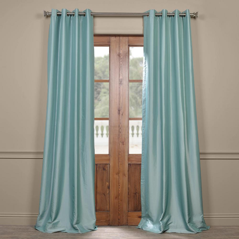 Exclusive Fabrics & Furnishings Robin's Egg Blue Grommet Blackout Faux Silk Taffeta Curtain - 50 in. W x 108 in. L