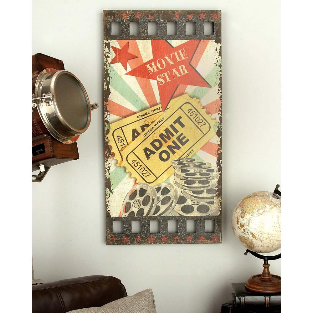 32 in. x 16 in. Classic Movie Film and Movie Stub Wall Panel in ...