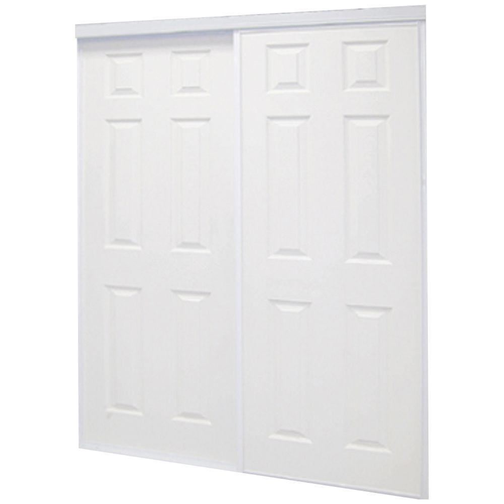 Colonial White Prefinished Hardboard Panels Steel Framed Interior Sliding  sc 1 st  The Home Depot & 60 in. x 81 in. Colonial White Prefinished Hardboard Panels Steel ...