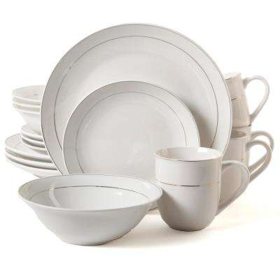 Gold Moon 16-Piece White Dinnerware Set