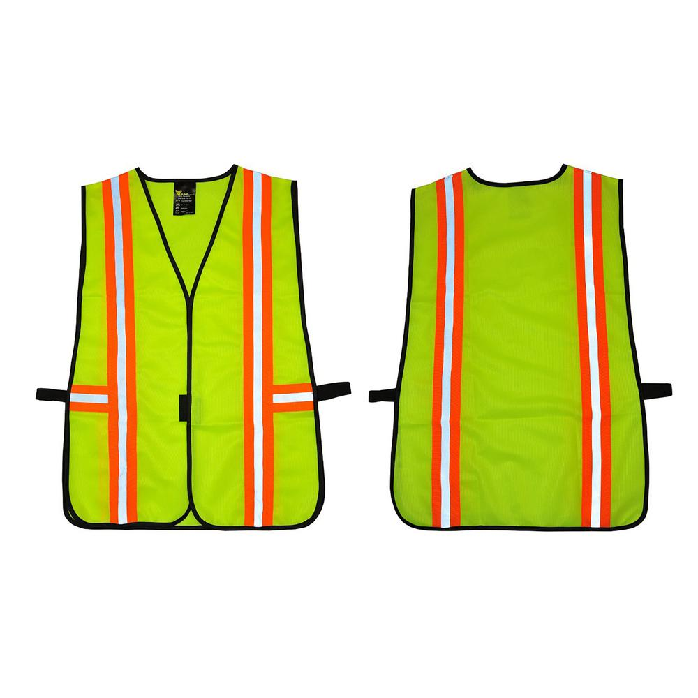 GFProducts G & F Products Lime Green All Industrial Safety Vest with Reflective Strip Neon, Adult Unisex