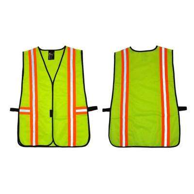 Lime Green All Industrial Safety Vest with Reflective Strip Neon