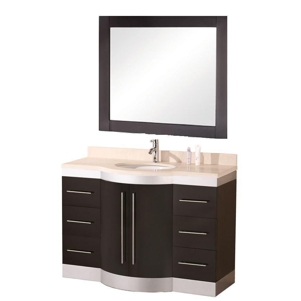 Jade 48 in. W x 22 in. D Vanity in Espresso with Granite Vanity Top and Mirror in Cream