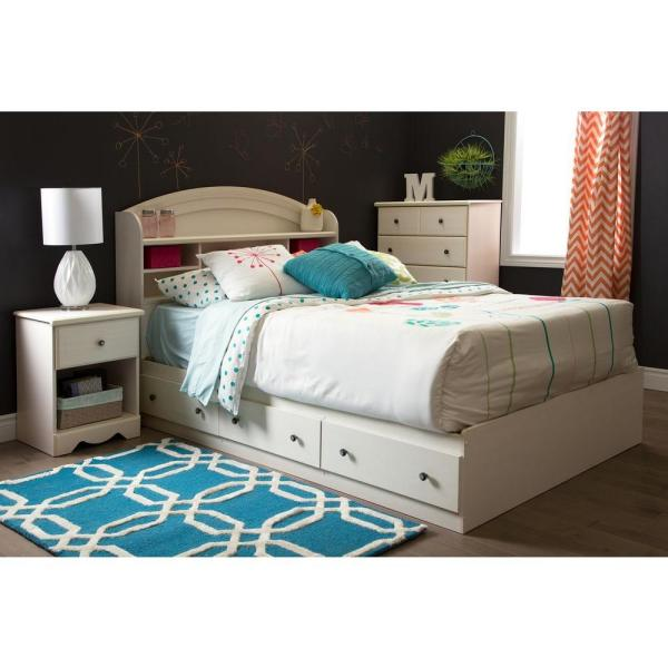 South Shore Country Poetry 3-Drawer White Wash Full-Size Storage Bed 9031211