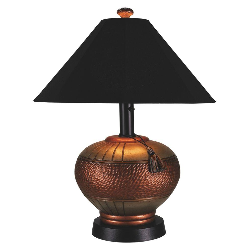 Patio Living Concepts Phoenix 32 In. Antiqued Copper Outdoor Table Lamp  With Black Sunbrella Shade