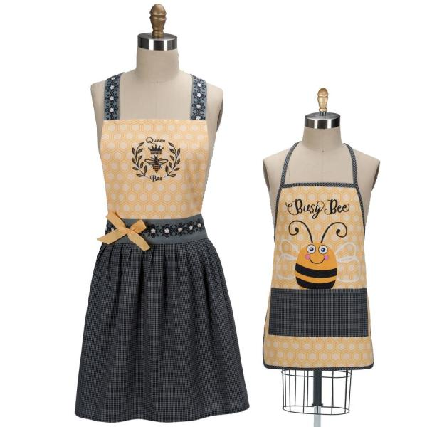 Queen Bee Yellow Cotton Hostess and Child Apron Set