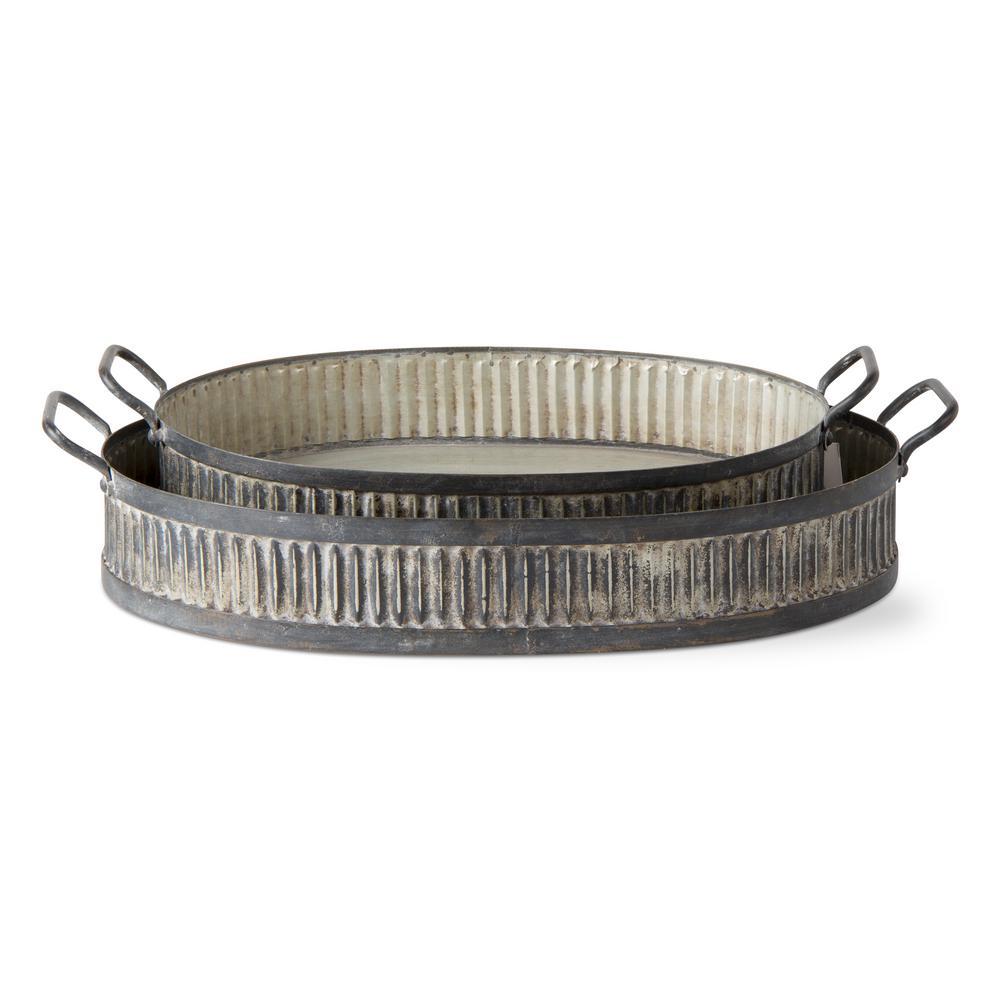 Vintage Corrugated 2-Piece Galvanized Metal Tray Set