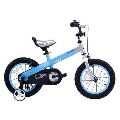 Matte Buttons Kid's Bike, Boy's Bikes and Girl's Bikes with Training Wheels, 12 in. Wheels in Matte Blue