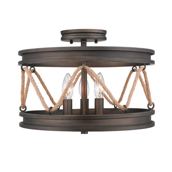 Chatham 3-Light Gunmetal Bronze Semi-Flush Mount