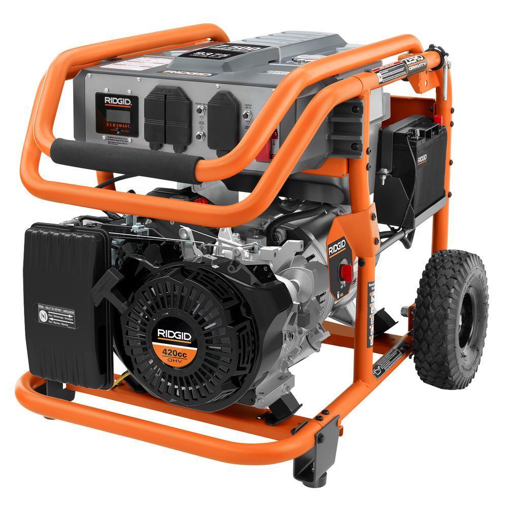 Ridgid 7 500 watt 420cc gasoline powered electric start portable generator