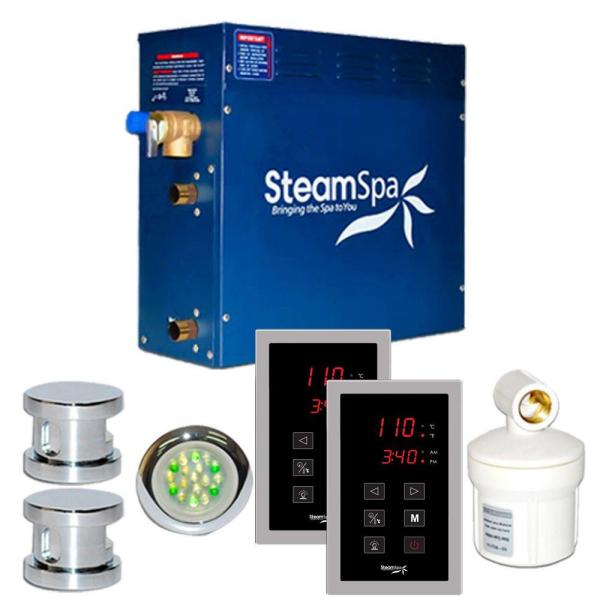 SteamSpa Royal 10.5kW Touch Pad Steam Bath Generator Package in Chrome
