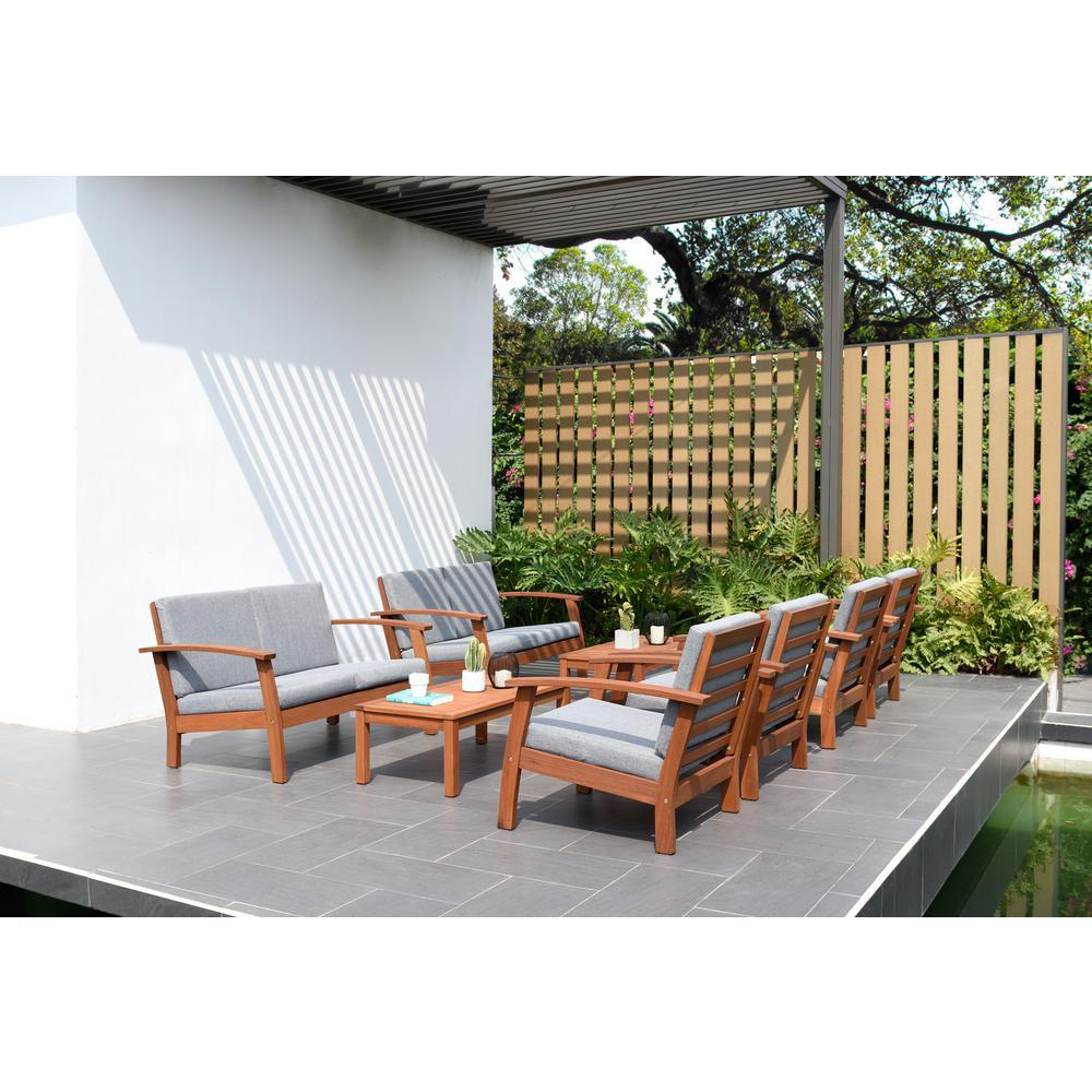 Palmer 8-Piece Wood Patio Conversation Set with Grey Cushions