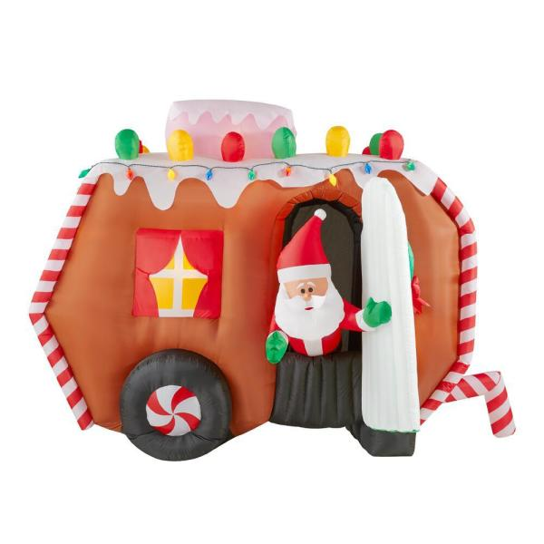 5.67 ft. Animated Inflatable Gingerbread Trailer