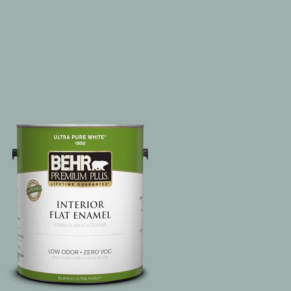 BEHR Premium Plus 1-gal. #490F-4 Gray Morning Zero VOC Flat Enamel Interior Paint-DISCONTINUED