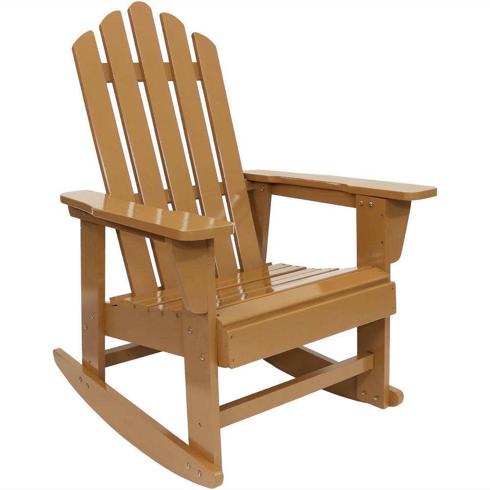 250 lbs. Capacity Classic Wood Cedar Rocking Adirondack Chair