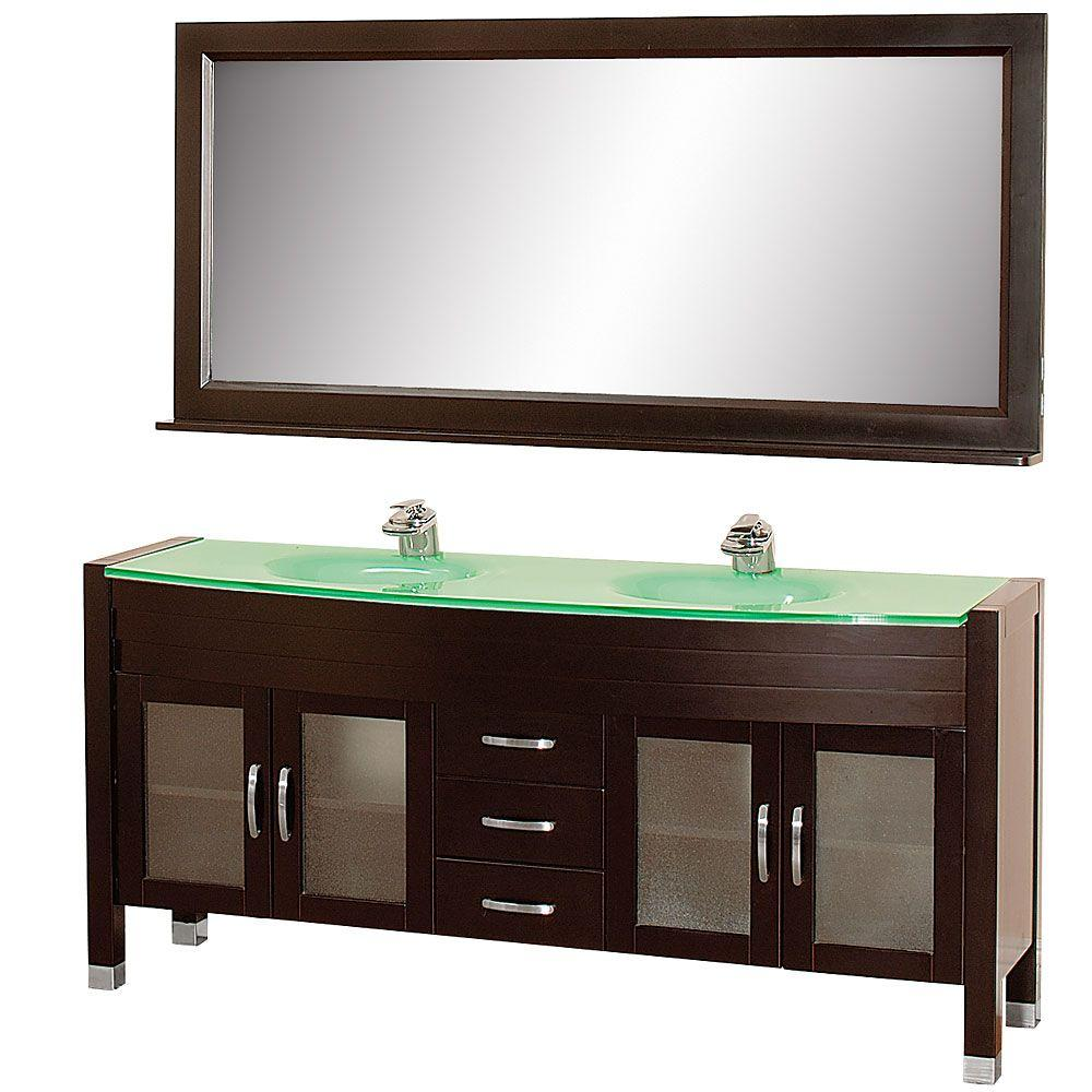 Wyndham Collection Daytona 71 in. Vanity in Espresso with Double Basin Glass Vanity Top in Aqua and Mirror