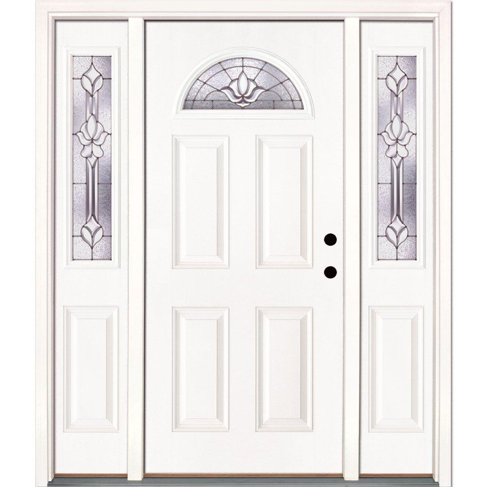 Feather river doors 63 5 in x in medina zinc fan for White front door with glass