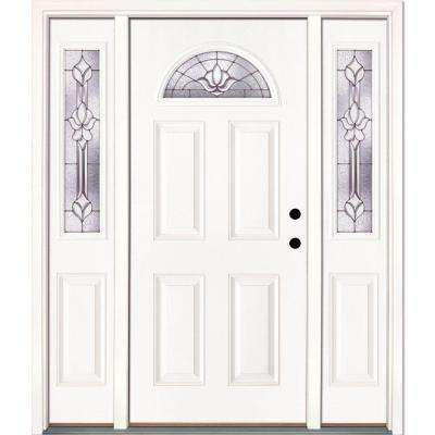 63.5 in. x 81.625 in. Medina Zinc Fan Lite Unfinished Smooth Left-Hand Fiberglass Prehung Front Door with Sidelites