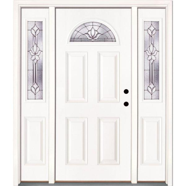 Feather River Doors 63 5 In X 81 625 In Medina Zinc Fan Lite Unfinished Smooth Left Hand Fiberglass Prehung Front Door With Sidelites 432101 3a1 The Home Depot