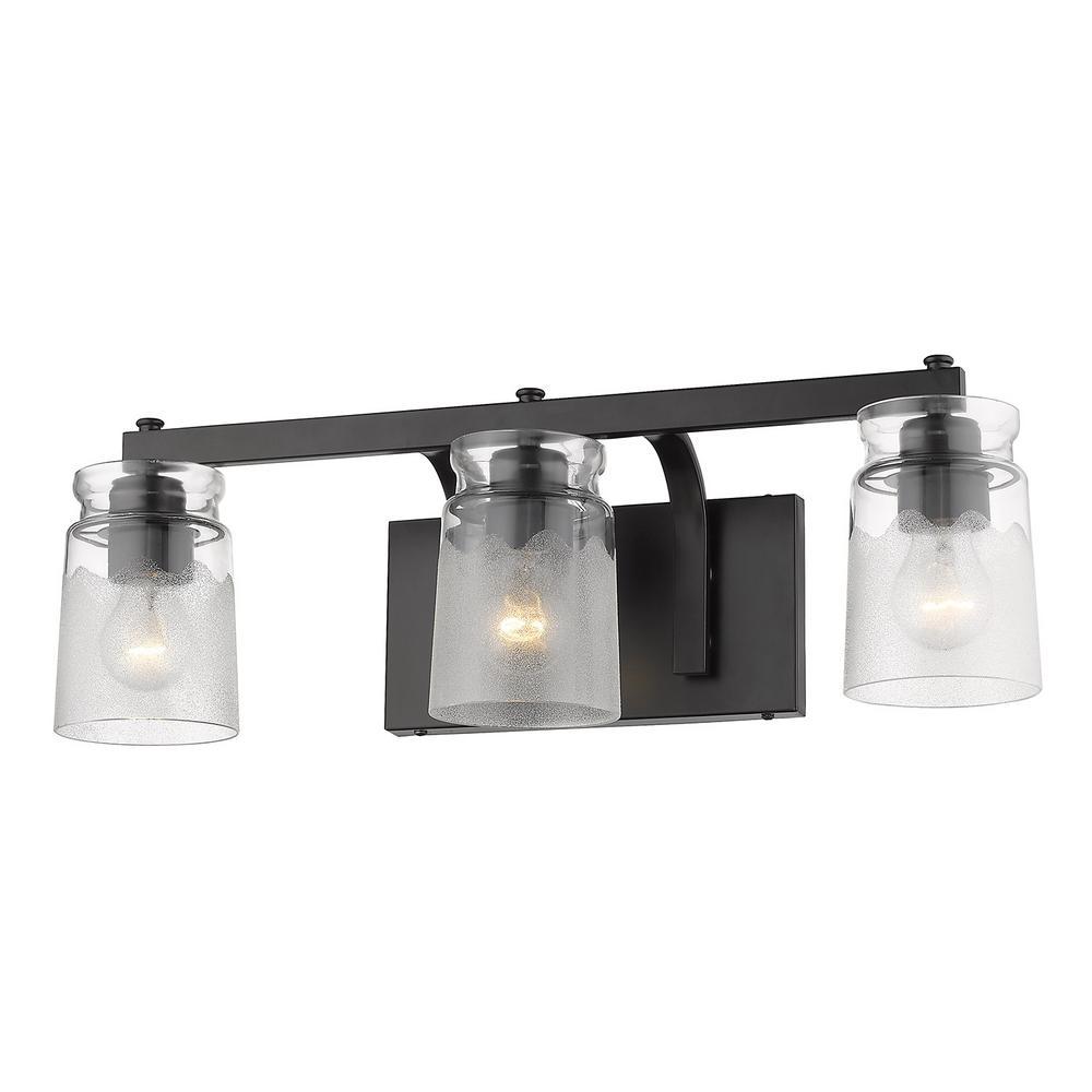 Golden lighting travers 4 5 in 3 light black bath vanity light
