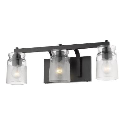 Travers 4.5 in. 3-Light Black Bath Vanity Light