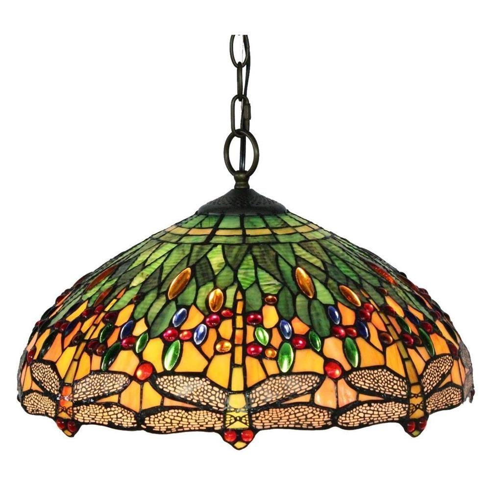 Tiffany Style 2-Light Dragonfly Hanging Pendant Lamp 18 in. Wide