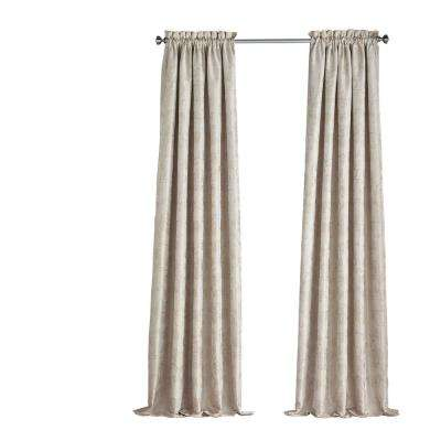 Mallory Blackout Floral Window Curtain Panel in Ivory - 52 in. W x 84 in. L
