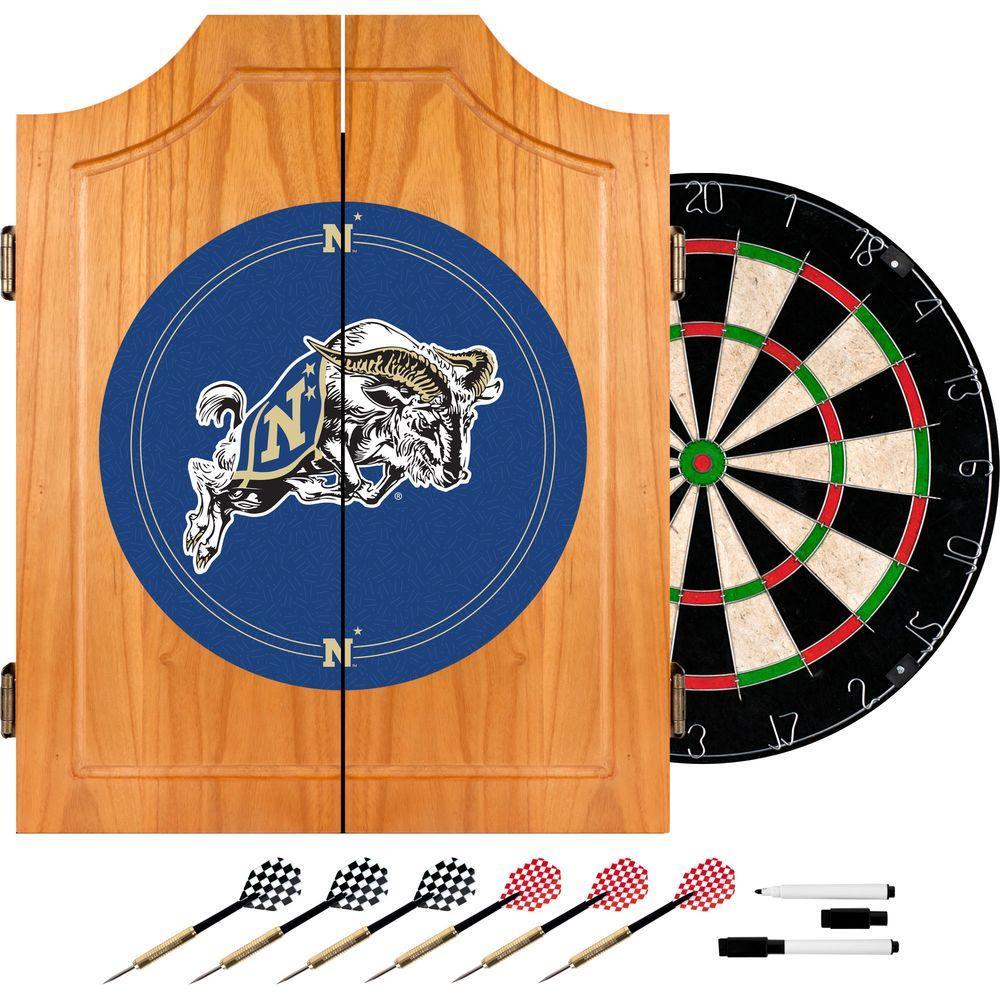 United States Naval Academy Wood Finish Dart Cabinet Set