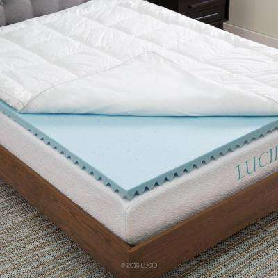 Twin Hybrid Down Alternative + Gel Infused Memory Foam Mattress Pad