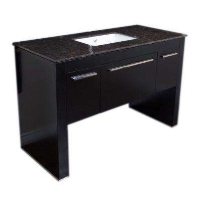 Milton 55.3 in. W x 23.6 in. D Single Vanity in Black with Marble Vanity Top in Baltic Brown with White Basin