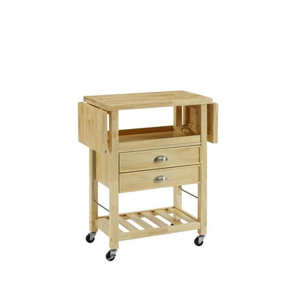 Bristol Natural Kitchen Cart with Double Drop Leaf