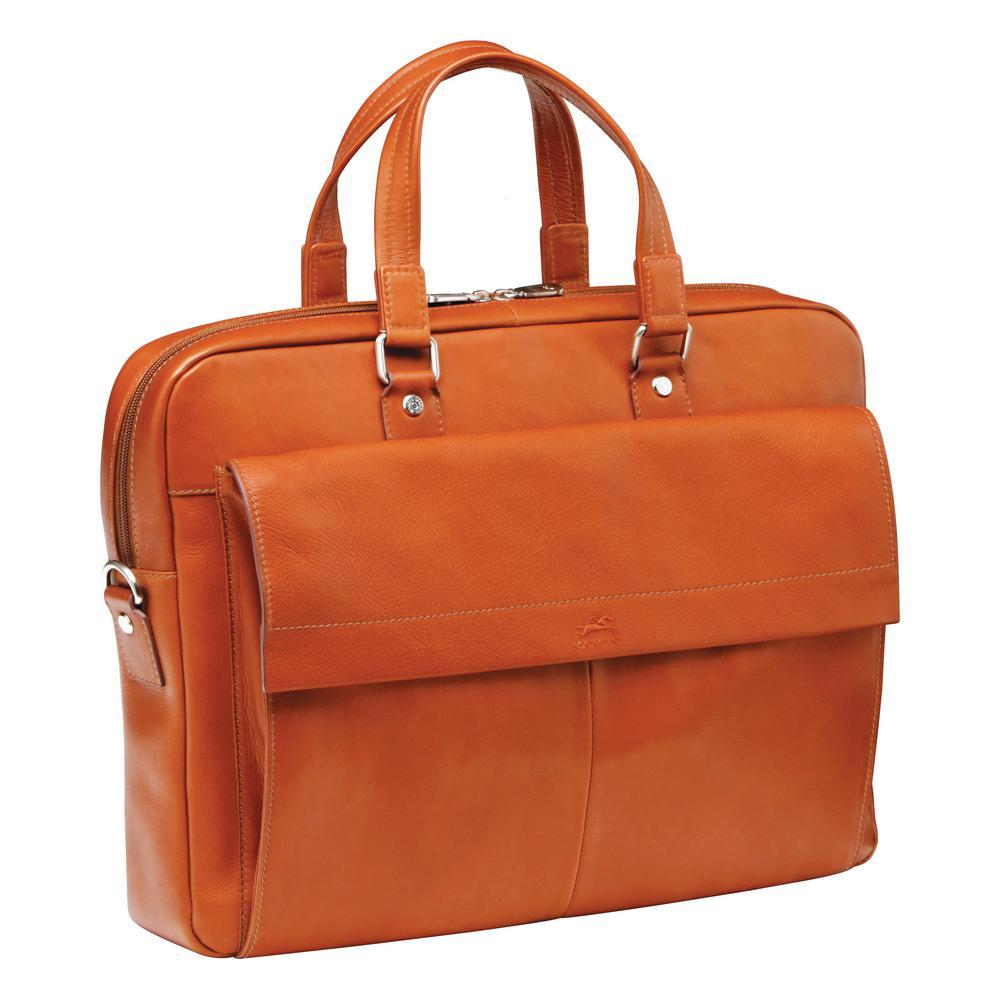 Slim Cognac Briefcase for 12 in. Laptop/Tablet