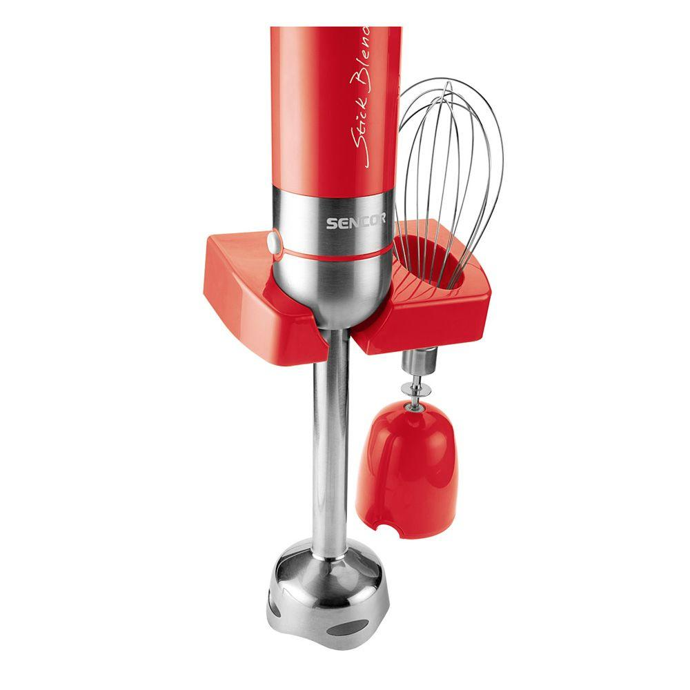 Hand Blender Kit, Red Sencor's extra quiet Hand Blender with 350-Watt DC motor also includes stainless steel attachments that are able to mix hot and cold foods. Detachable stainless steel blending rod, hanging loop. Color: Red.