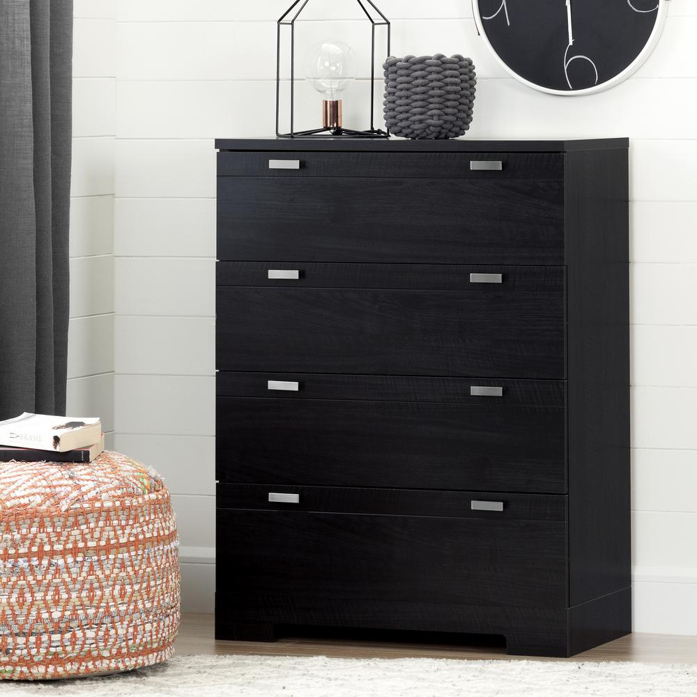 South Shore Reevo 4 Drawer Black Onyx Chest 10259 The Home Depot