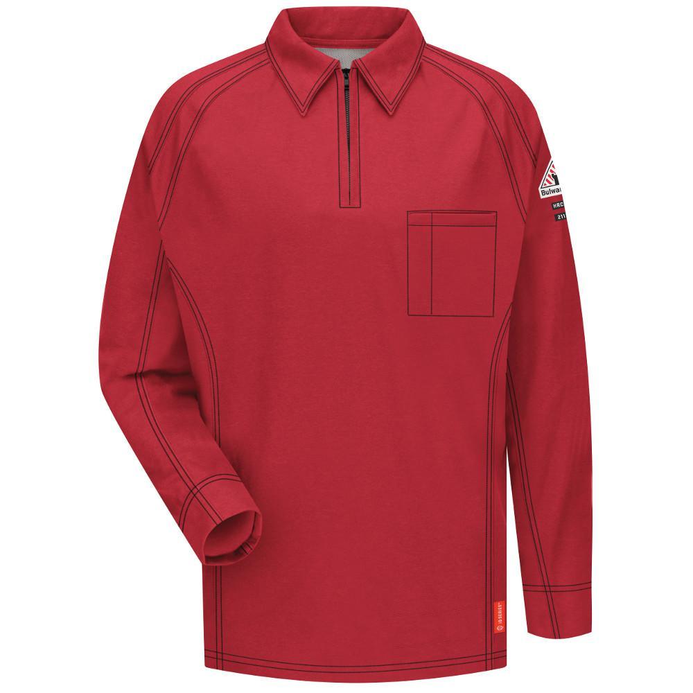 Bulwark Iq Mens Large Tall Red Long Sleeve Polo Qt12rd Ln L The