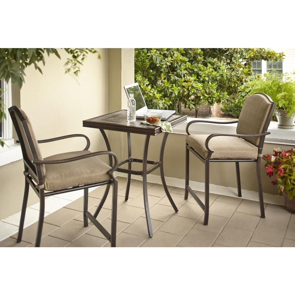 Hampton bay castle rock 3 piece patio high bistro set with for Jardin 8 piece dining set