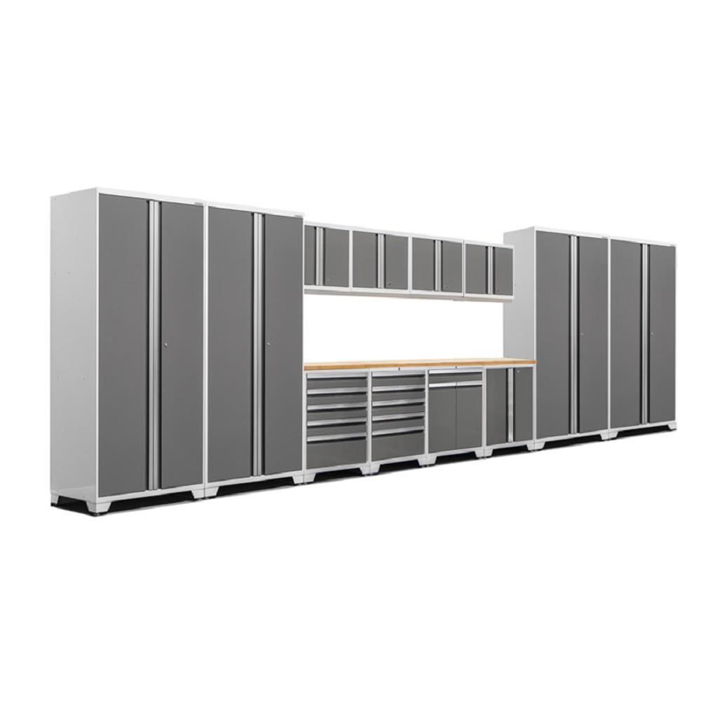 Pro 3.0 83.25 in. H x 256 in. W x 24 in. D 18-Gauge Welded Steel Bamboo Worktop Cabinet Set in Platinum (14-Piece)