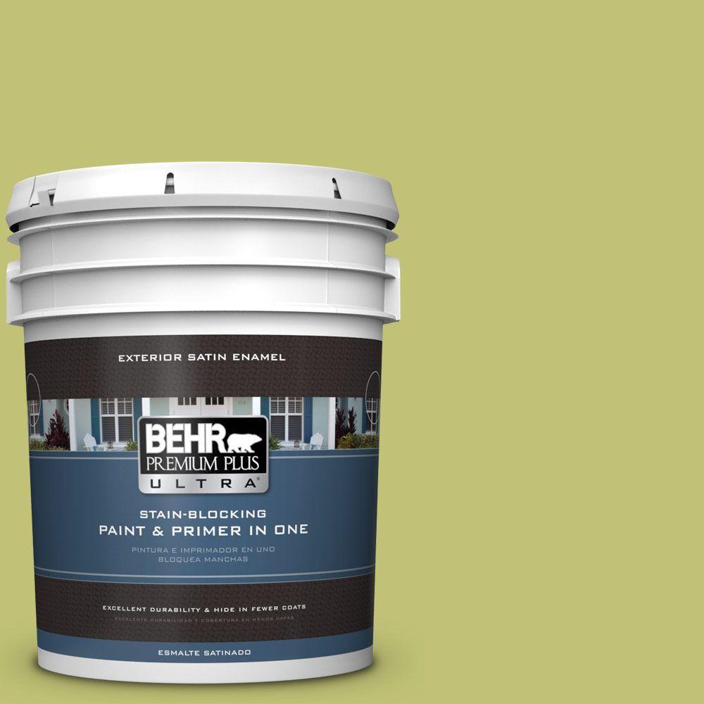 BEHR Premium Plus Ultra 5 gal. #PPU9-07 Fresh Sprout Satin Enamel ...