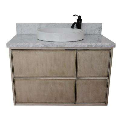 Scandi 37 in. W x 22 in. D Wall Mount Bath Vanity in Brown with Marble Vanity Top in White with White Round Basin