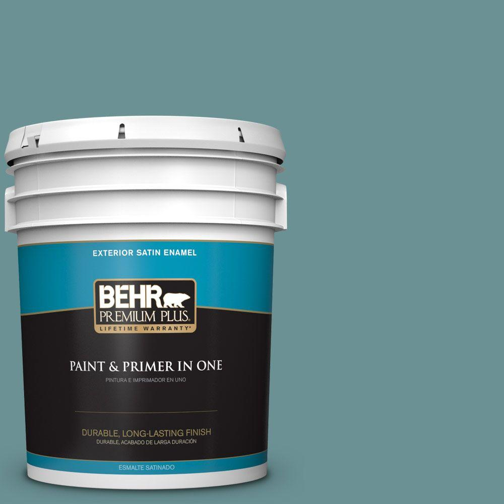 5 gal. #T15-16 Blue Clay Satin Enamel Exterior Paint