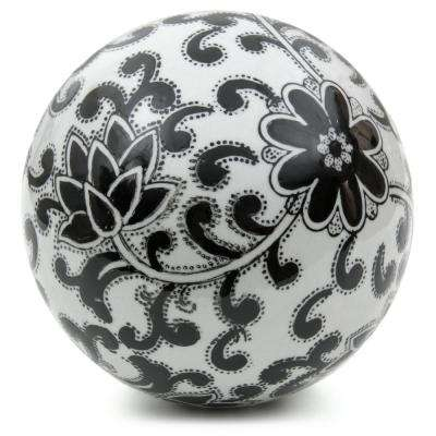 Oriental Furniture 6 in. Decorative Porcelain Ball - White with Black Flowers