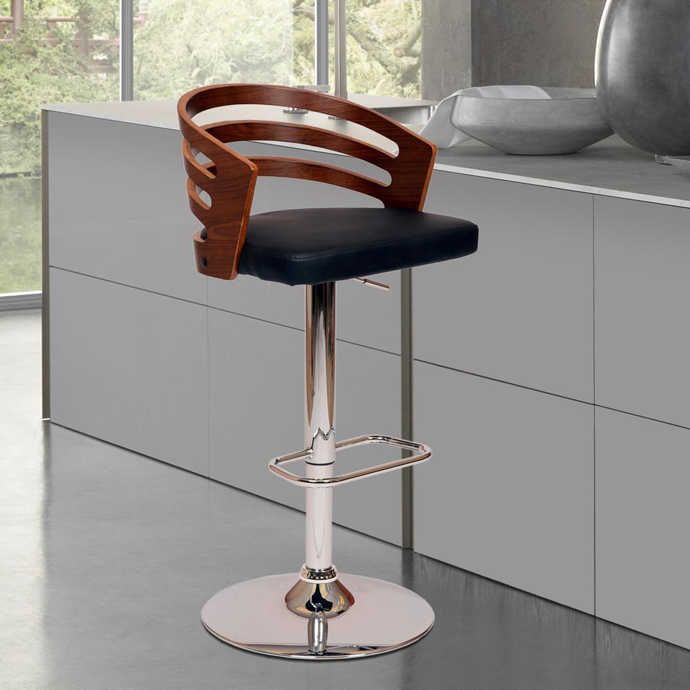 Superb Armen Living Adele 44 In. Black Faux Leather And Chrome Finish Swivel  Barstool