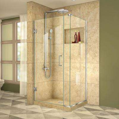 Unidoor Plus 34-3/8 in. x 33 in. x 72 in. Frameless Hinged Corner Shower Enclosure in Chrome