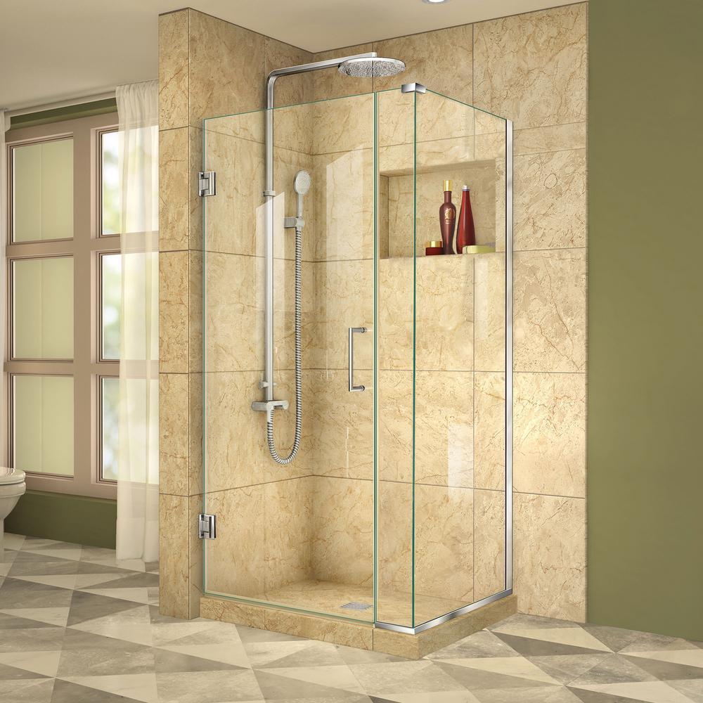 DreamLine Unidoor Plus 30-3/8 in. x 35 in. x 72 in. Frameless Hinged Corner Shower Enclosure in Chrome