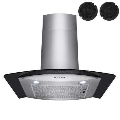 30 in. Convertible Kitchen Wall Mount Range Hood in Stainless Steel with Black Tempered Glass and Carbon Filters
