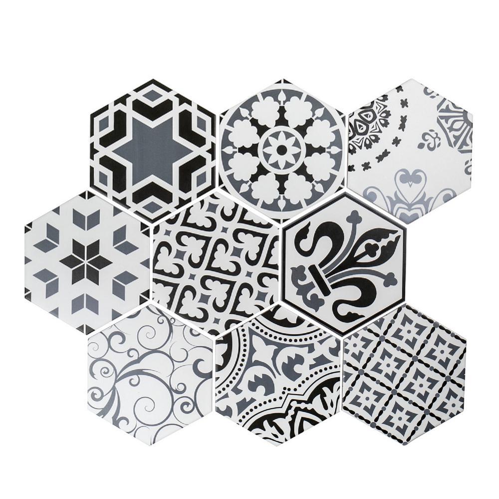 Potpourri Medley White/Gray 7.875 in. x 9 in. Glazed Ceramic Wall Tile (7.5 sq. ft. / case)