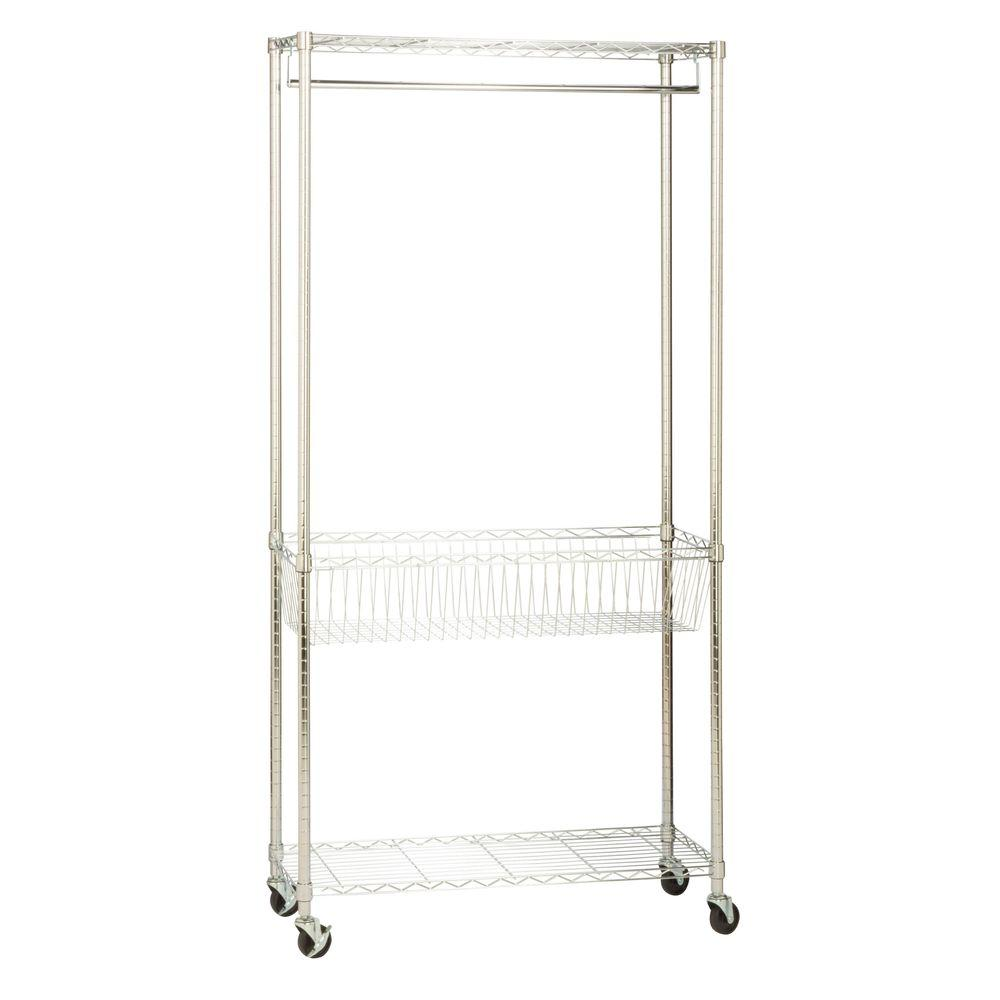Honey Can Do Rolling Laundry Clothes Rack with Shelves, Chrome SHF