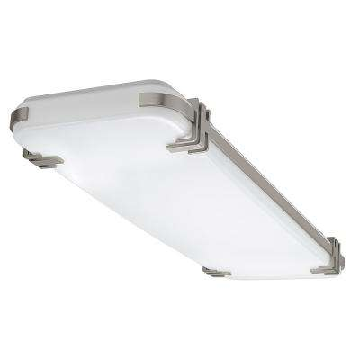 4 ft. x 15 in. Mission 128 Watt Equivalent Brushed Nickel Integrated LED Flushmount