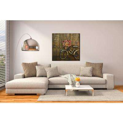 "39 in. x 39 in. ""Bike with Basket"" Metal on Wood Wall Art"